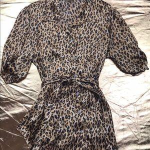 Leopard animal print satin shirt USA made
